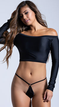 100% Silk Micro G-String with Rings - Black