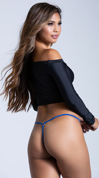 100% Silk Micro G-String with Rings - Cobalt Blue