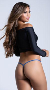 100% Silk Y Back G-String - Cobalt Blue
