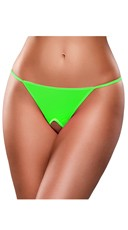 Crotchless Neon G-String - Lime