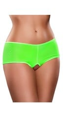 Crotchless Mesh Boyshort - Lime
