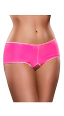 Crotchless Mesh Boyshort - Pink