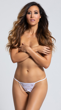 Crotchless Bride G-String - White