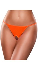 Plus Size Crotchless Neon G-String - Orange