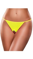 Plus Size Crotchless Neon G-String - Yellow