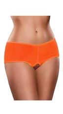Plus Size Crotchless Mesh Boyshort - Orange