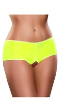 Plus Size Crotchless Mesh Boyshort - Yellow