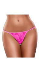 Plus Size Neon Lace G-String - Pink