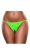 Plus Size Crotchless Lace G-String - Lime