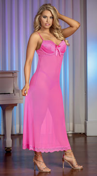 Plus Size Pretty In Pink Gown Set - Pink