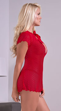 Plus Size Valentina Fly-away Babydoll Set - Red