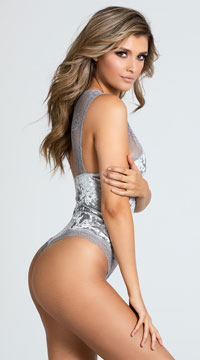 Crushed Velvet Be With Me Bodysuit - Platinum