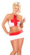 Plus Size Private Nurse Lingerie Costume - White