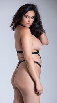 Plus Size Seducer Open Cup Strappy Teddy - Black
