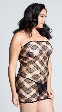 Plus Size Checkered Tube Dress - Black