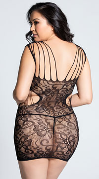 Plus Size Seamless Strappy Lace Chemise - Black
