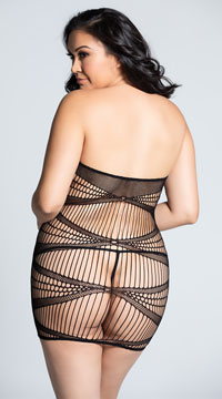 Plus Size Seamless Geometric Dress - Black