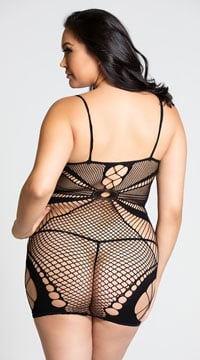 Plus Size Seamless Netted Chemise - Black