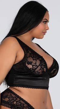 Plus Size Yvette Lace Longline Bra - Black