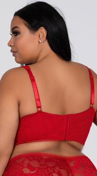 Plus Size Yvette Lace Longline Bra - Red