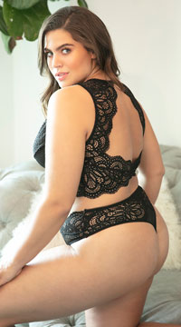 Plus Size Stephanie Lace Thong - Black