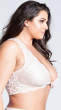 Plus Size Stephanie Lace Bralette - Silver Peony