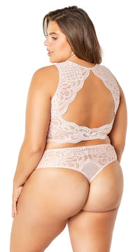 Plus Size Stephanie Lace Thong - Silver Peony