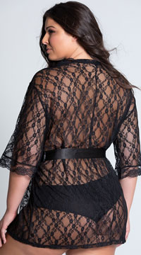 Plus Size Scalloped Lace Robe - as shown