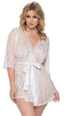 Plus Size Scalloped Lace Robe - White