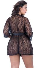 Plus Size Scalloped Lace Robe - Black