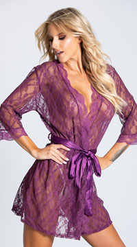 Pretty Scalloped Lace Robe - Amaranth