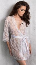 Pretty Scalloped Lace Robe - White