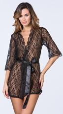 Pretty Scalloped Lace Robe - Black
