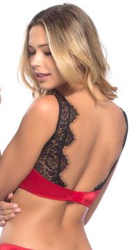 Arabella Satin and Lace Bralette - Red/Black