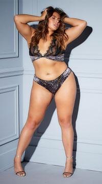 Plus Size Riva Eyelash Leopard Panty - Black
