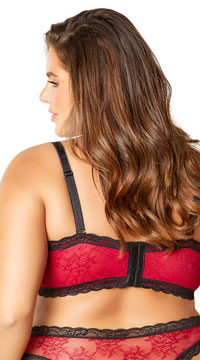 Plus Size The Emmy Risque Velvet Bra - Merlot/Black