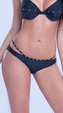 Strappy Bikini Bottom with Gold Studs - Black
