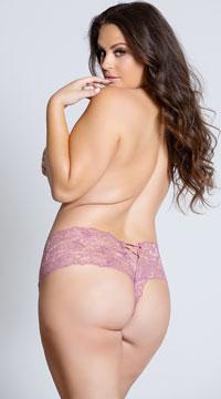 Plus Size Crotchless Lace Boyshort - Rose