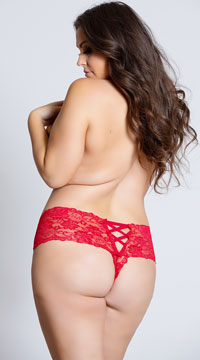 Plus Size Crotchless Lace Boyshort - Red