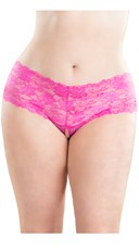 Plus Size Crotchless Lace Boyshort - Pink