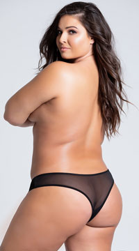 Plus Size Crotchless Pearl Thong - Black