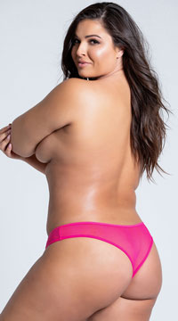Plus Size Crotchless Pearl Thong - Pink