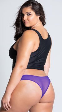 Plus Size Crotchless Pearl Thong - as shown