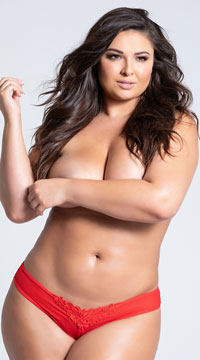 Plus Size Crotchless Pearl Thong - Red
