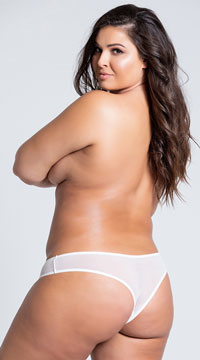 Plus Size Crotchless Pearl Thong - White