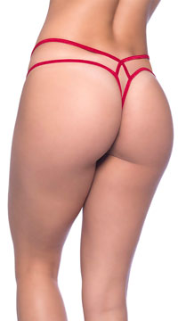 Laced Criss-Cross Thong - Red