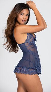 Flirty Lace Babydoll Set - Blue