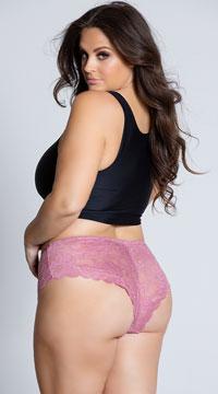 Plus Size Suzette Lace Tanga Panty - Rose