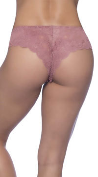 Plus Size Suzette Lace Tanga Panty - Rose