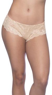 Plus Size Suzette Lace Tanga Panty - Nude